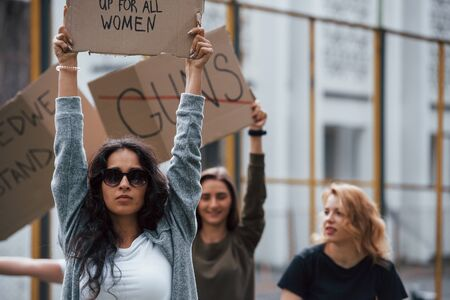 Appeal to the executive. Group of feminist women have protest for their rights outdoors. Stok Fotoğraf