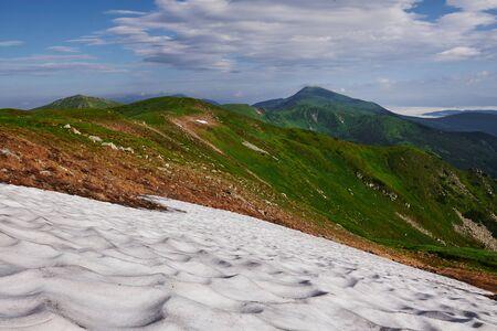 Its cold up here. Majestic Carpathian mountains. Beautiful landscape. Breathtaking view. Banco de Imagens
