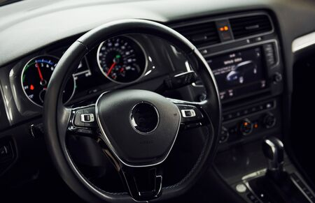 Detailed view of modern cars interior. Luxury and quality automobile.