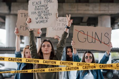 Please hear us out. Group of feminist women have protest for their rights outdoors.
