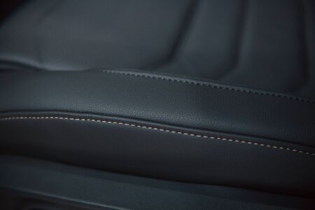 Close up view of interior of brand new modern luxury automobile. 写真素材