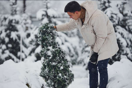 Young stylish man in warm coat looking for a fir tree outdoors for celebrating christmas and new year.