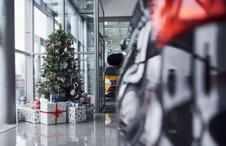 New year decorated automobile salon with christmas tree and cars.