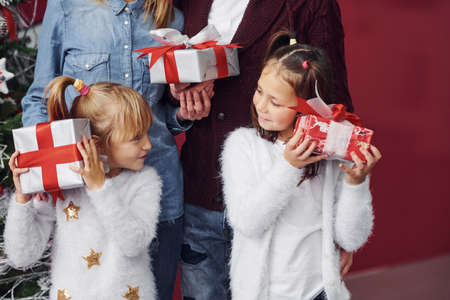Two little girls stands together with mom and dad in room with christmas tree with gift boxes.