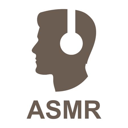 Vector illustration ASMR logo. Man head in headphone. Flat icon