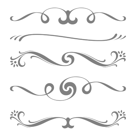 Collection of vector calligraphic lines ornaments or dividers . Retro style  イラスト・ベクター素材