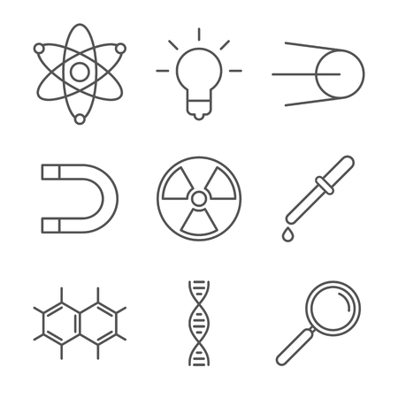 Collection of 9 science icons. Flat style 矢量图像