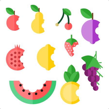 bitten: Collection of 10 bitten fruit. Flat icon Illustration