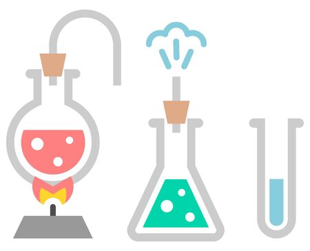 drug discovery: Chemistry icon. Test-tubes with liquid Illustration