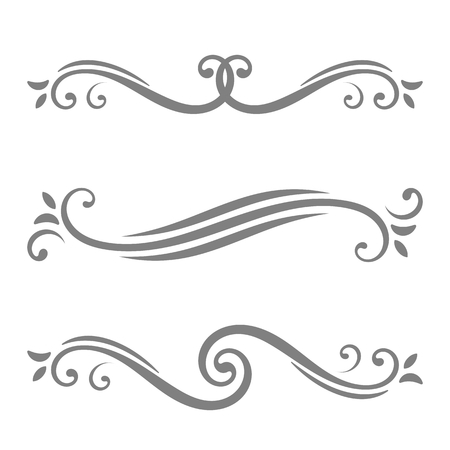 separator: Collection of vector calligraphic lines ornaments or dividers. Retro style