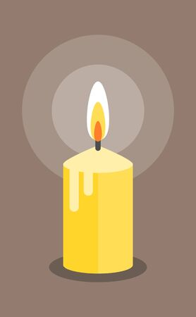 Burning candle. Modern flat style. Vector icon