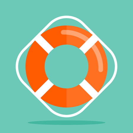 Orange lifebuoy on green background. Modern flat style. Vector icon