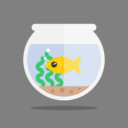 Fish in an aquarium. Modern flat style. Vector icon