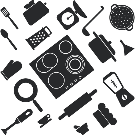 lay: Kitchen and cooking icons. Flat lay style. Vector illustration