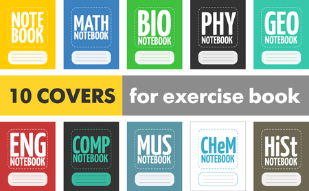 Set 10 simple modern covers for school exercise book