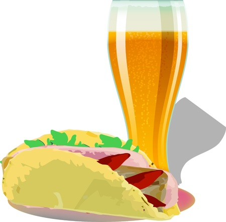 bicchiere di birra con flatbread Illustration