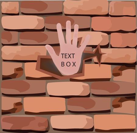 muro di mattoni con la mano,