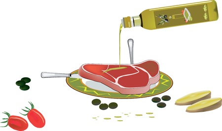 seasoned: dish with seasoned steak Illustration
