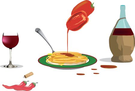 topped: spaghetti topped with tomato Illustration