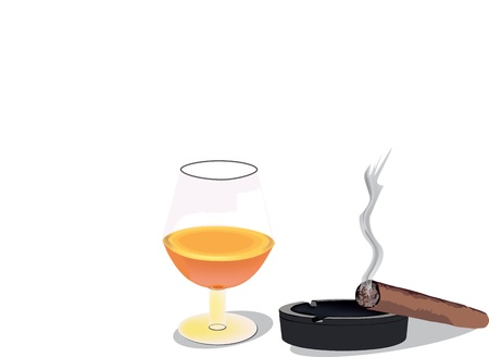 cognac: cognac and cigar on the ashtray Illustration