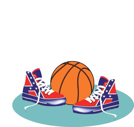 gym shoes with a high basketball Stock Vector - 12191222