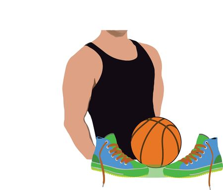 sporting goods basketball and soccer shoes high Vector