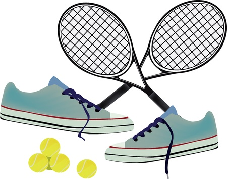 sports accessories tennis rackets, balls and shoes