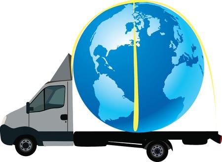 international trade: international road transport truck on order Illustration