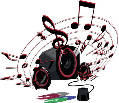 notes musicales: haut-parleur avec des notes de musique