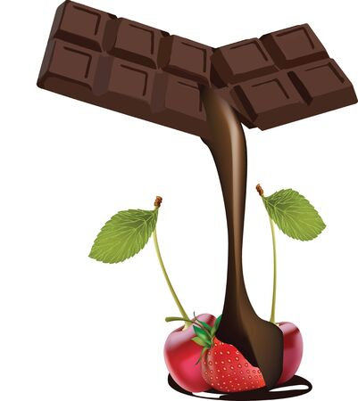 chocolate dipped fruit Vector