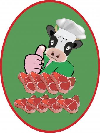 소의 고기를 사용하여 슬라이스 접착제