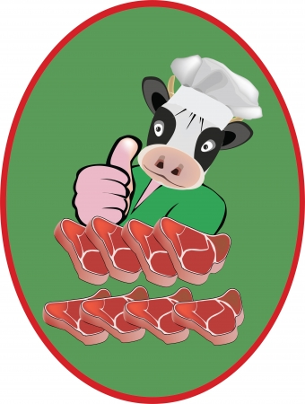 slaughter: adhesive using bovine meat and sliced Illustration