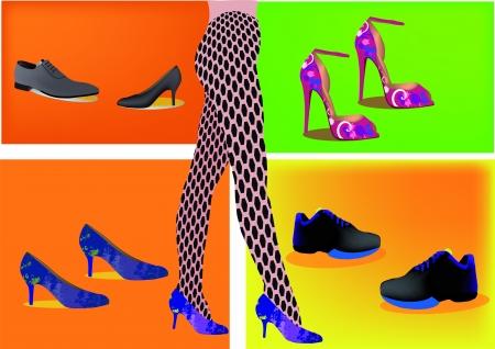 legs stockings: Gambe femminili con calze a rete e scarpe