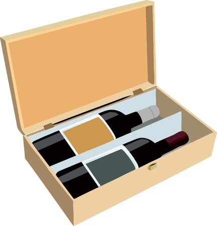 Wooden Box with Bottles Illustration