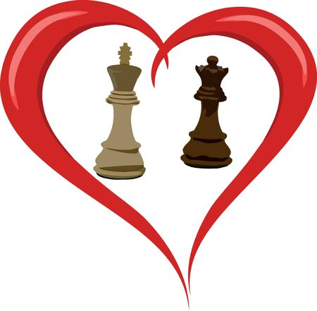king and queen of hearts: Chess Heart