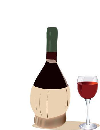 vino: contenitore con un bicchiere di vino