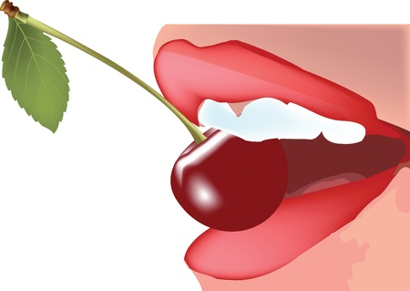 sensual mouth with cherry Vector