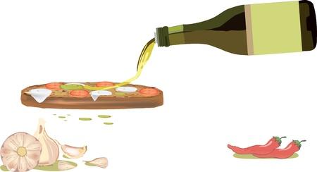 올리브 오일과 마늘, 칠리 빵 조각 일러스트