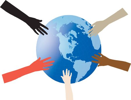 hands of various colored races on earth Stock Vector - 13853511
