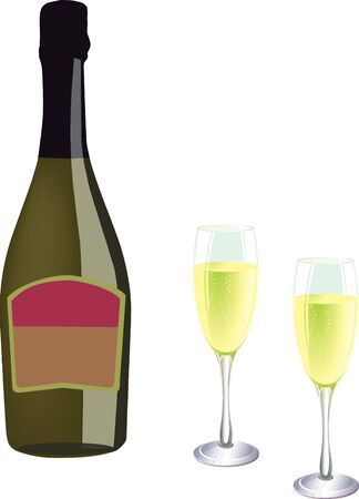 aperitif: bottle of sparkling wine with a glass