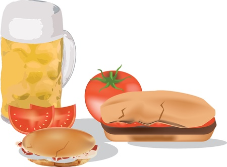 sandwich with tomatoes and stuffed and beer