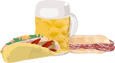 salame: loaf of bread with salami and flatbread with beer