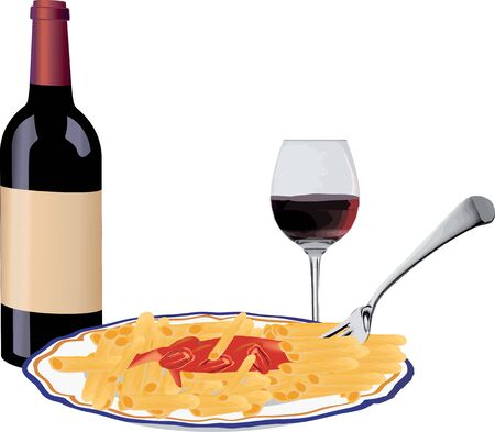 bottle of red wine with pasta