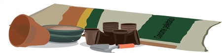 horticultural: sandbags with plastic pots for horticulture Illustration