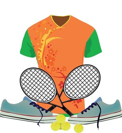 scarpe e abbigliamento sportivo con la racchetta da tennis