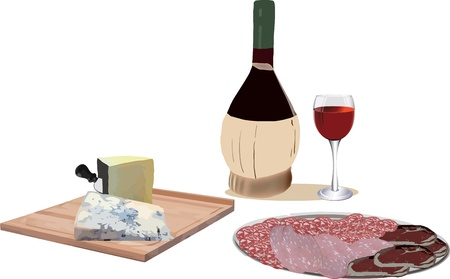 cheese platter on the table and sliced Illustration