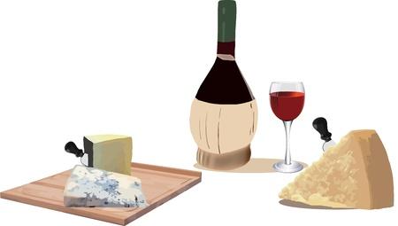 formaggio con una bottiglia di vino e vetro