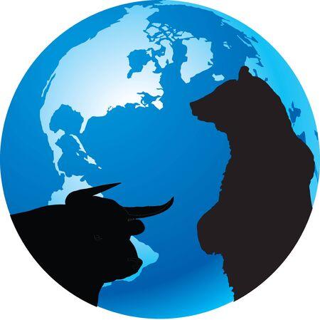 world economy: bull and bear symbols of world economy Illustration
