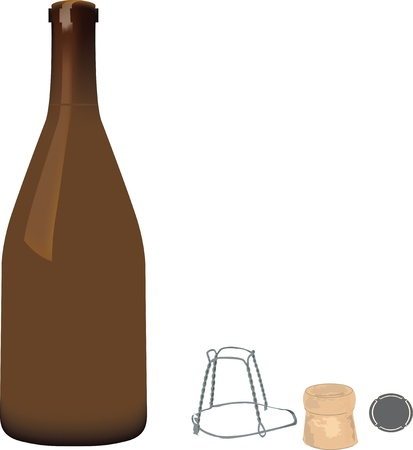 glass bottle with accessories for closure Stock Vector - 13868876