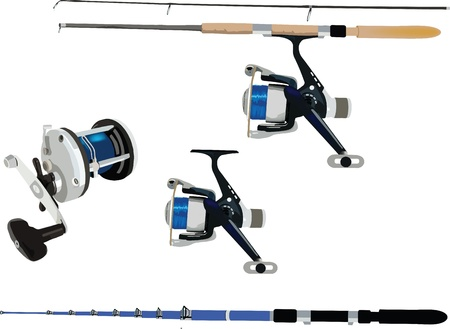 sport fishing: fishing rods and reels